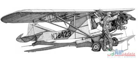 Clipped J3 Cub Pen and Ink Drawing