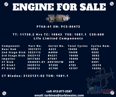 PT6A-41 Engine For Sale SN: PCE-80472