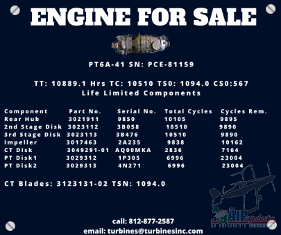 PT6A-41 Engine For Sale, SN: PCE-81159